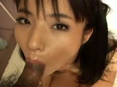 Hot Asian girl goes down on man's phallus before getting pussy banged
