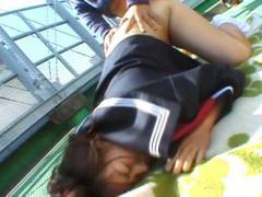 Chubby Misa Kashigawi pluged outdoors